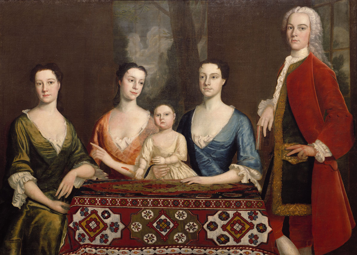 "Robert Feke, Isaac Royall and Family, 1741, oil on canvas, 56-3/16 x 77-3/4"" (Harvard Law School Library)"