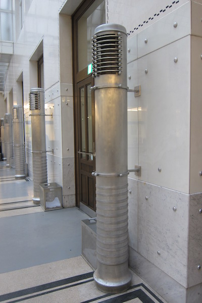 Aluminum hot-air blowers, Otto Wagner, Postal Savings Bank, Vienna, 1904-06 and 1910-12