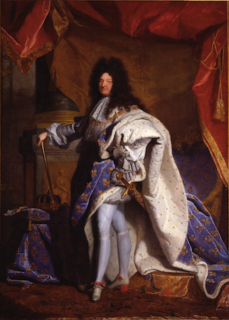 "Hyacinthe Rigaud, Louis XIV, 1701, oil on canvas, 9'2"" x 6'3"" (Musée du Louvre, Paris, France)"