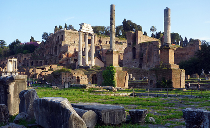 View of the Forum toward the Palatine Hill.