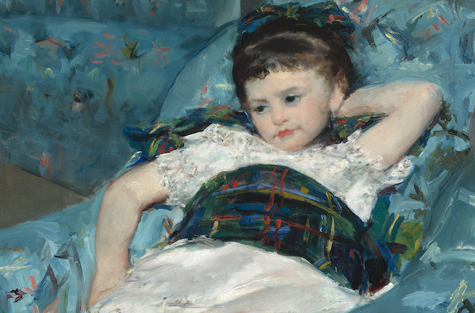Girl sprawled on blue armchair (detail), Mary Cassatt, Little Girl in a Blue Armchair, 1878, oil on canvas, 89.5 x 129.8 cm (National Gallery of Art, Washington D.C.)