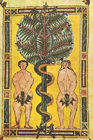 The medieval approach to the human body can be seen in this manuscript illumination. Artist unknown, Adam and Eve from the Escorial Beatus, c. 950, tempera on parchment (Real Biblioteca de San Lorenzo de El Escorial)
