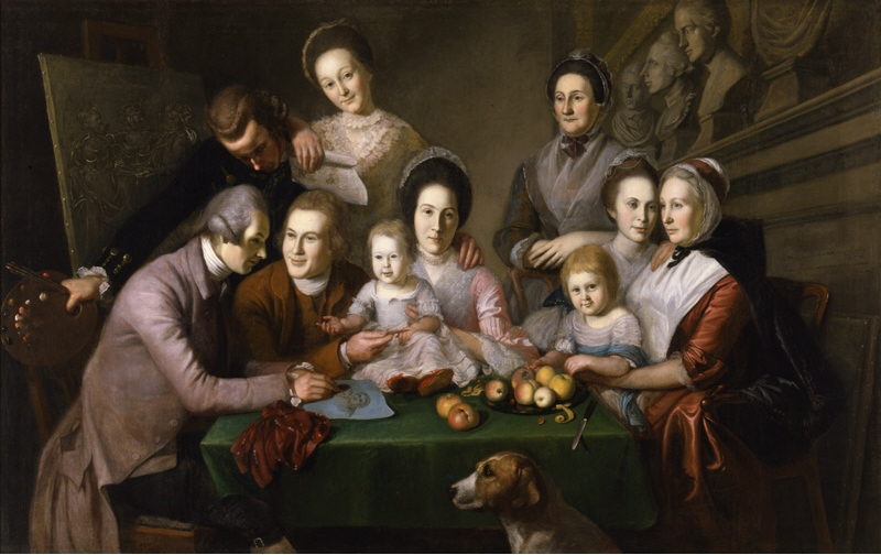 Charles Wilson Peale, The Peale Family, 1773, oil on canvas, 143.5 x 227.3 cm (New York Historical Society)
