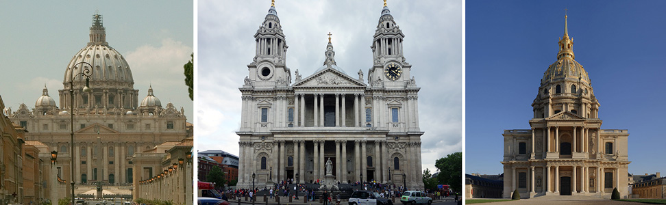 Right: Numerous architects, Saint Peter's Basilica, begun 1506, Vatican City; center: Christopher Wren, St. Paul's Cathedral, London, begun 1675; Left: South facade, Hôtel National des Invalides, Paris, begun 1671 (photo)