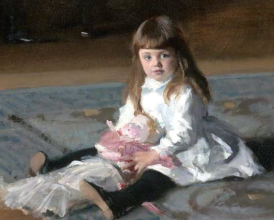 Child in foreground (detail),John Singer Sargent, The Daughters of Edward Darley Boit, 1882, oil on canvas, 221.93 x 222.57 cm (Museum of Fine Arts, Boston)