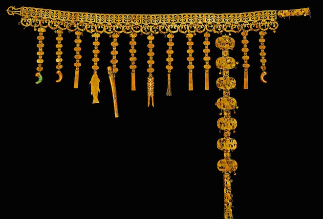 "Belt with pendant ornaments. Korea, Silla kingdom, second half of 5th century, gold, excavated from the north mound of Hwangnam Daechong Tomb. 47 1/4"" / 120 cm long, (Gyeongju National Museum, Korea, National Treasure 192)"