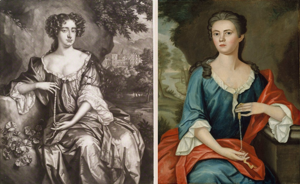 Left: Queen Anne when Princess of Denmark by Isaac Beckett, after William Wissing, mezzotint, 1683-1688, 32.6 mm x 25 cm (National Portrait Gallery, London); right: John Singleton Copley, Mrs. Joseph Mann (Bethia Torrey), 1753, oil on canvas, 91.44 x 71.75 cm (Museum of Fine Arts, Boston)