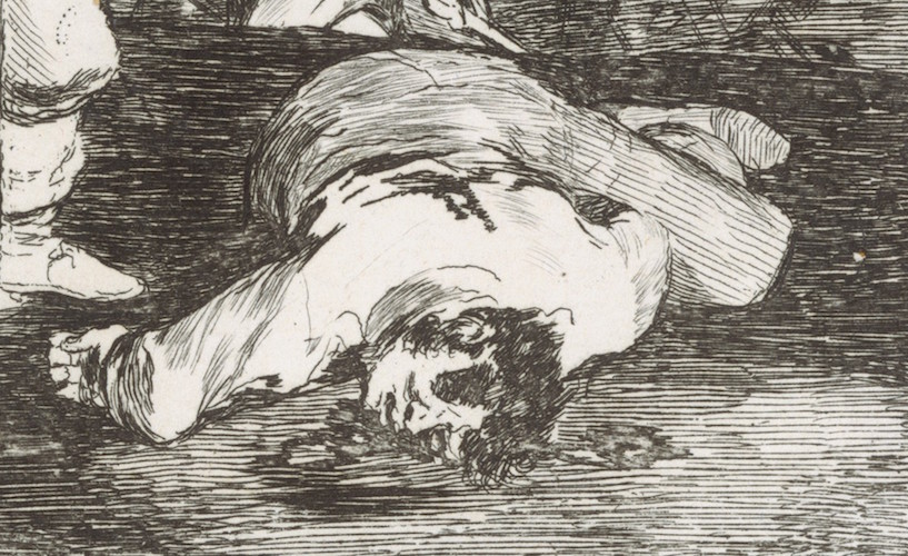 Dead figure (detail), Francisco Goya, And there's nothing to be done (Y no hai remedio), plate 15 from The Disasters of War (Los Desastres de la Guerra), 1810, etching, drypoint, burin and burnisher, 14 x 16.7 cm (The Metropolitan Museum of Art)