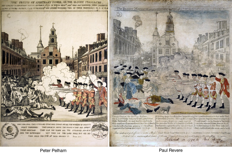 Left: Henry Pelham, Boston Massacre; right: Paul Revere, Boston Massacre