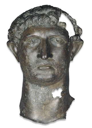 Bronze head from a statue of the Emperor Hadrian, 2nd century C.E., Roman Britain (The British Museum)