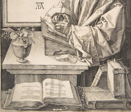 Desktop (detail), Albrecht Dürer, Erasmus of Rotterdam, 1526, engraving, 24.8 x 19.1 cm (The Metropolitan Museum of Art)