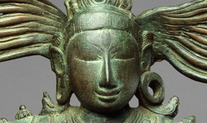 Shiva's tranquil expression with long hair streaming (detail), Shiva as Lord of the Dance (Nataraja), c. 11th century, Copper alloy, Chola period, 68.3 x 56.5 cm (The Metropolitan Museum of Art)