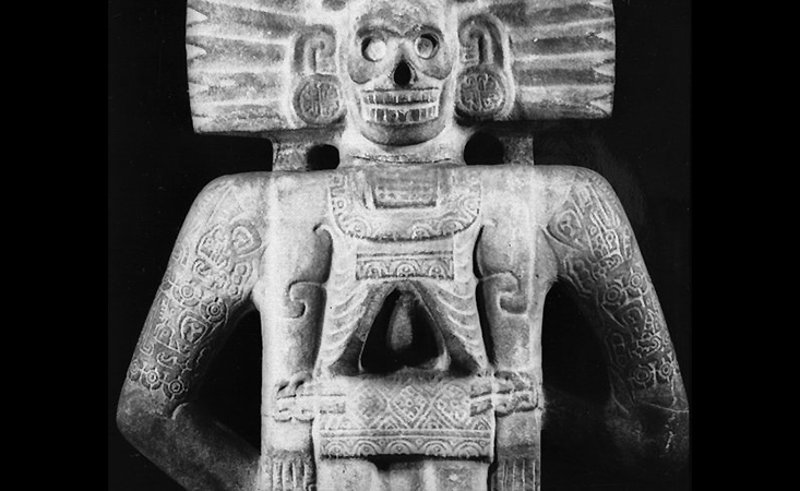 Life-Death Figure (back), c. 900-1250, Huastec, Northern Veracruz, Mexico, sandstone with traces of pigment, 158.4 x 66 x 29.2 cm (Brooklyn Museum)