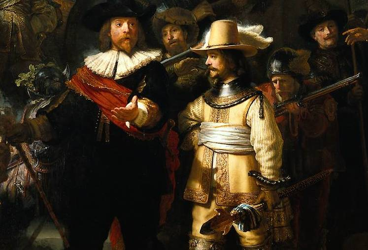 Captain and Lieutenant (detail), Rembrandt, Officers and Men of the Company of Captain Frans Banning Cocq and Lieutenant Wilhelm van Ruytenburgh, known as the Night Watch, 1642, oil on canvas, 379.5 x 453.5 cm (Rijksmuseum, Amsterdam)