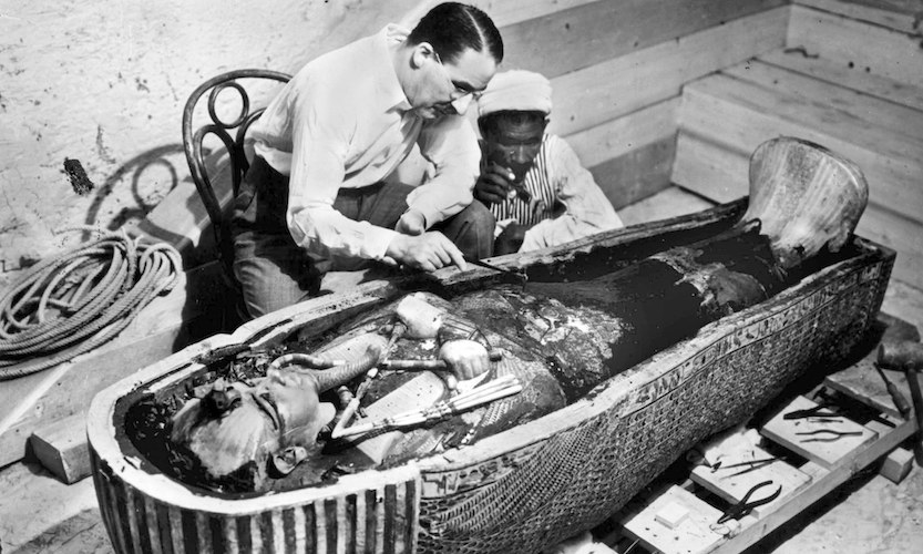 Harry Burton, Howard Carter with Innermost Coffin of Tutankhamun, 1922 (Tutankhamun Archive, Griffith Institute, University of Oxford)