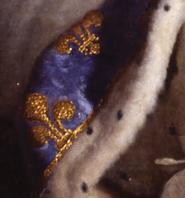 "Fleur-de-lis and ermine (detail), Hyacinthe Rigaud, Louis XIV, 1701, oil on canvas, 9'2"" x 6'3"" (Musée du Louvre, Paris)"