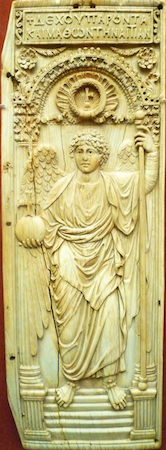 Byzantine panel with archangel, Ivory leaf from diptych, ca. 525-50, 16.8 x 5.6 x 0.35 in. (42.8 x 14.3 x 0.9 cm), probably from Constantinople (modern Istanbul, Turkey), (British Museum, London)