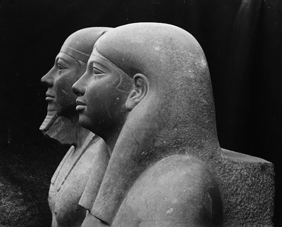 Heads (detail), King Menkaure (Mycerinus) and queen, 2490–2472 B.C.E., greywacke, 142.2 x 57.1 x 55.2 cm (Museum of Fine Arts, Boston), photo: 1910 (The Giza Archives)