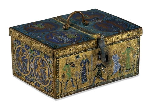 Casket with troubadours, c. 1180, 21 x 15.6 x 11 cm, from the court of Aquitaine, Limoges, France (The British Museum)