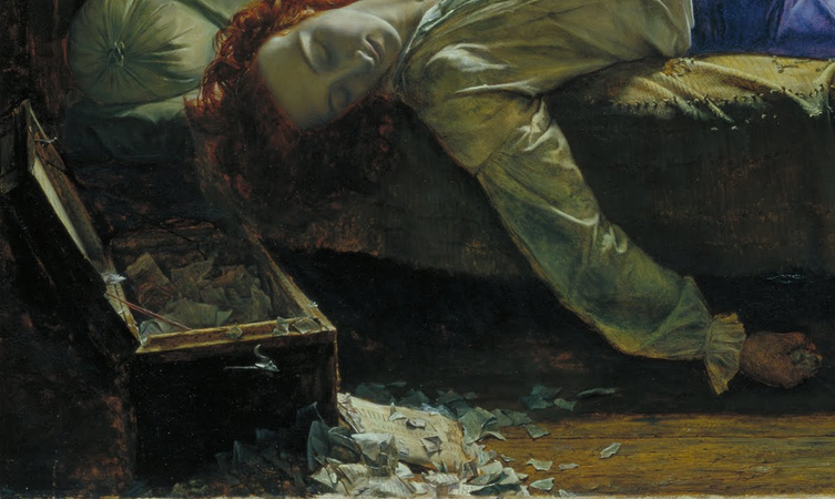 Tattered papers (detail), Henry Wallis, Chatterton, 1856, oil on canvas, 622 x 933 cm (Tate Britain, London)