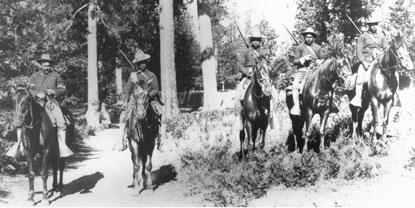 Buffalo Soldiers in the 24th Infantry carrying out patrol duties in Yosemite, c. 1899 (Yosemite Research Library)