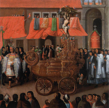 Parish of San Sebastián, in the Procession of Corpus Christi series, c. 1680, oil on canvas (Museo del Arzobispado, Cuzco, Peru)