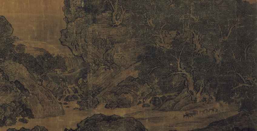 Gnarled pine trees (detail), Fan Kuan, Travelers by Streams and Mountains, c. 1000, ink on silk hanging scroll, 206.3 x 103.3 cm. (National Palace Museum, Taibei)