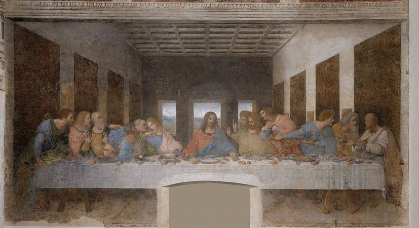 Leonardo da Vinci, Last Supper, 1498, tempera and oil on plaster (Santa Maria della Grazie, Milan) (photo: public domain)