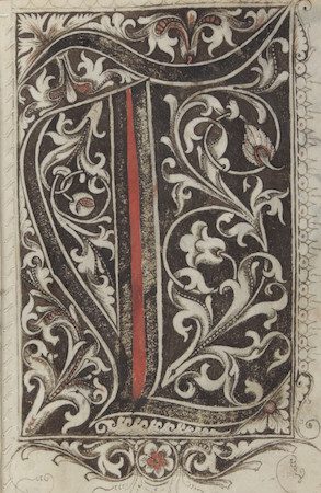"Initial letter ""T,"" Gregorius Bock, Medieval Scribal Pattern Book, 1510-1517, Yale, Beinecke Library, MS 439, fols. 30v-31r"