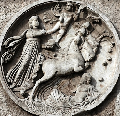 Tondo with Sun God, c. 315 C.E., marble frieze (Arch of Constantine, Rome)