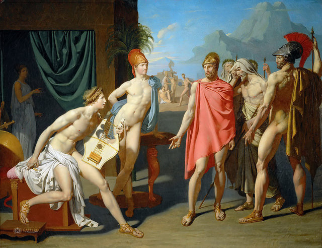 Jean Auguste Dominique Ingres, The Ambassadors of Agamemnon in the Tent of Achilles, oil on canvas, 44 1/2 x 57 1/2 inches (École Nationale Supérieure des Beaux-Arts, Paris)