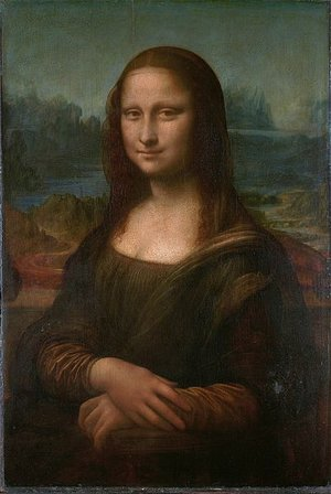 "Leonardo da Vinci, Mona Lisa, c. 1503-05, oil on panel 30-1/4 x 21"" (Musée du Louvre)"