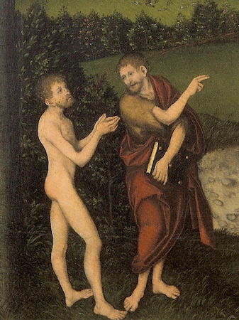 St. John the Baptist directs naked man to Christ (detail), Lucas Cranach, The Law and the Gospel, c. 1529, oil on wood, 82.2 × 118 cm / 32.4 × 46.5 in (Schlossmuseum, Gotha, Germany)