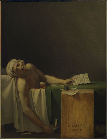 Jacques-Louis David, Death of Marat, 1793, oil on canvas, 165 x 64.96 cm (Royal Museum of Fine Arts of Belgium)