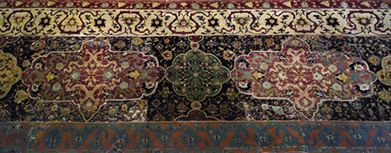"Detail, Medallion Carpet, ""The Ardabil Carpet,"" Maqsud of Kashan, Persian: Safavid Dynasty, silk warps and wefts with wool pile, 1539-40 C.E., Tabriz, Kashan, Isfahan or Kirman, Iran, (Victoria & Albert, London)"