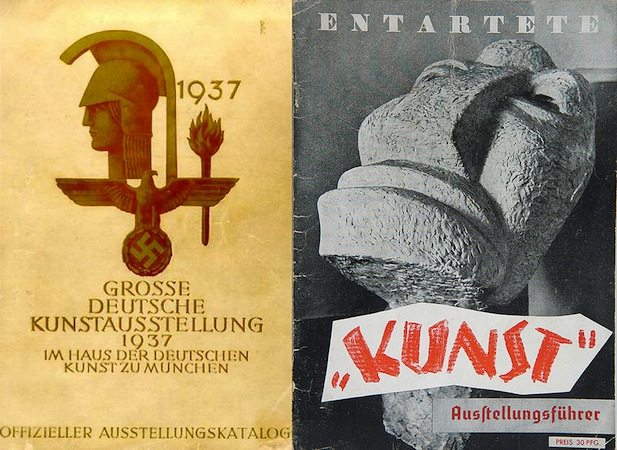 Great Exhibition of German Art catalogue cover, 1937  (left) and Entartete Kunst (Degenerate Art) exhibition, catalogue cover, 1937 (right)