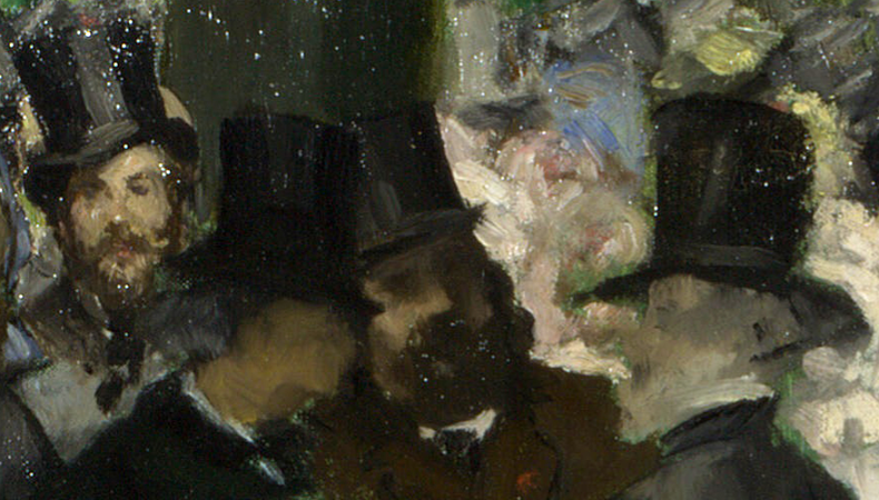 The artist Fantin-Latour (far left) and Baudelaire in profile with other figures (detail), Édouard Manet, Music in the Tuileries Gardens, 1862, oil on canvas, 76.2 x 118.1 cm (The National Gallery, London)