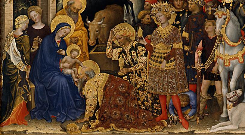 The three magi presenting gifts to the Christ child (detail), Gentile da Fabriano, Adoration of the Magi, 1423, tempera on panel, 283 x 300 cm (Uffizi Gallery, Florence)