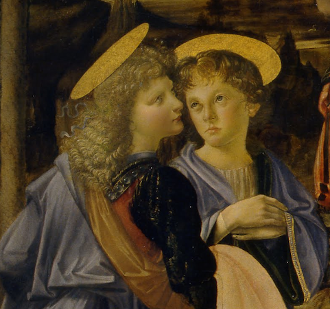 Two angels (detail), Andrea del Verrocchio (with Leonardo), Baptism of Christ, 1470-75, oil and tempera on panel, 70 3/4 x 59 3/4 inches or 180 x 152 cm (Galleria degli Uffizi, Florence)
