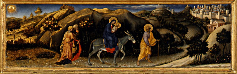 The Flight into Egypt (predella), Gentile da Fabriano, Adoration of the Magi, 1423, tempera on panel, 283 x 300 cm (Uffizi Gallery, Florence)The Flight into Egypt (predella), Gentile da Fabriano, Adoration of the Magi, 1423, tempera on panel, 283 x 300 cm (Uffizi Gallery, Florence)