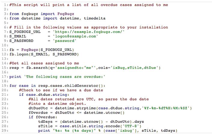 Screenshot of Python code