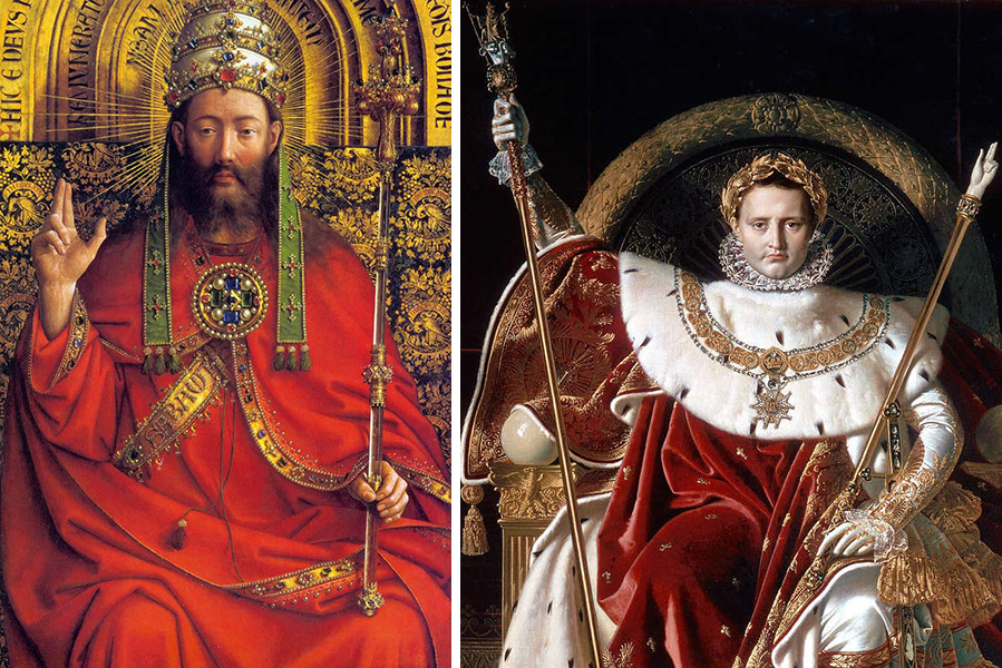 Left: God the Father (detail), Jan van Eyck, Ghent Altarpiece (open), completed 1432, oil on wood (Saint Bavo Cathedral, Ghent); right: Napoleon (detail), Jean-Auguste-Dominique Ingres, Napoleon on his Imperial Throne, 1806, oil on canvas, 260 x 163 cm (Musée de l'Armée, Paris)