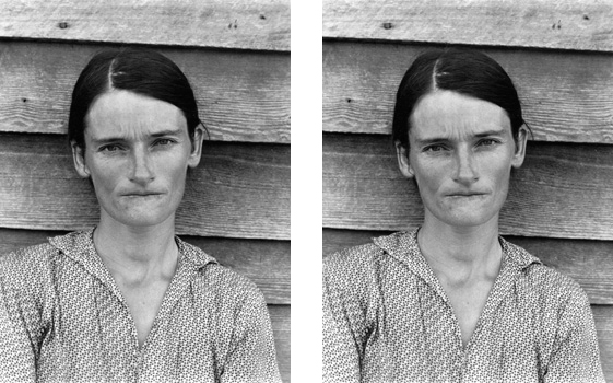 Left: Walker Evans, Alabama Tenant Farmer Wife, 1936, gelatin silver print, 20.9 x 14.4 cm, (The Metropolitan Museum of Art, New York); right: Sherrie Levine, After Walker Evans, gelatin silver print, 12.8 x 9.8 cm (The Metropolitan Museum of Art, New York)