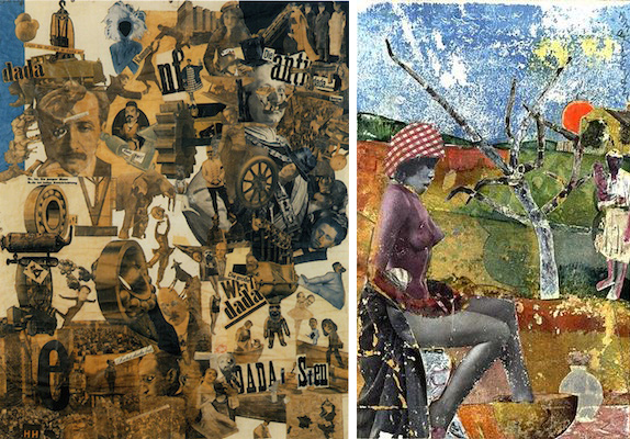 Left: Hannah Höch, Cut with the Kitchen Knife Dada Through the Last Weimar Beer-Belly Cultural Epoch of Germany, collage, mixed media, 1919-1920 (Neue Nationalgalerie, Berlin); right: Romare Bearden, The Calabash, 1970, collage (Library of Congress)