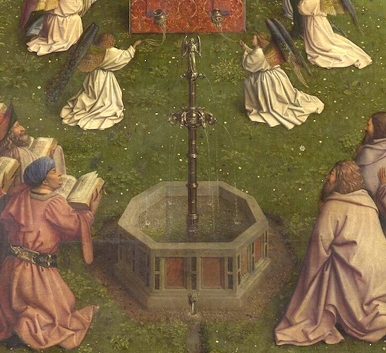 Fountain (detail) Adoration of the Mystic Lamb, Jan van Eyck, Ghent Altarpiece (open), completed 1432, oil on wood, 11 feet 5 inches x 15 feet 1 inch (open), Saint Bavo Cathedral, Ghent, Belgium (photo: Closer to Van Eyck)
