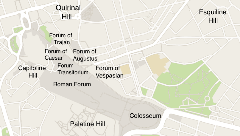 Locations of the Fora on a map of present-day Rome