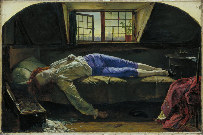 Henry Wallis, Chatterton, 1856, oil on canvas, 622 x 933 cm (Tate Britain, London)