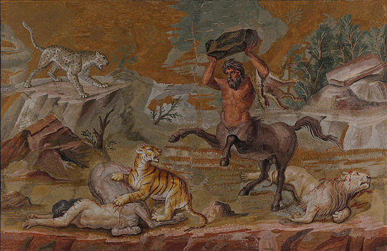 Pair of Centaurs Fighting Cats of Prey from Hadrian's Villa, mosaic, c. 130 B.C.E. (Altes Museum, Berlin)