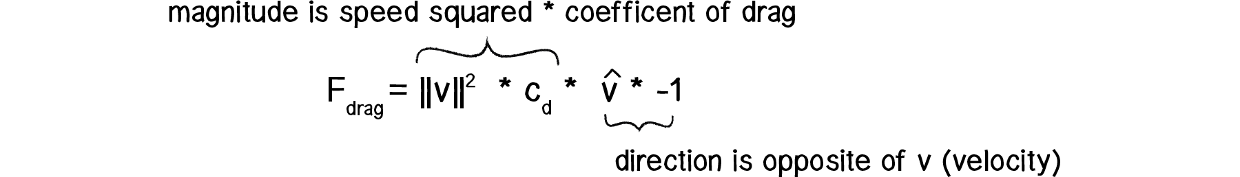 Simplified formula: F_drag = ||v^2|| * c_d * v - 1