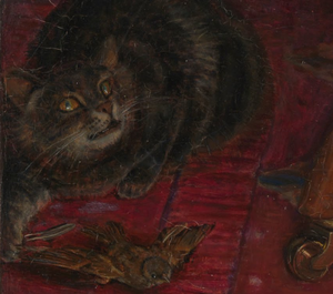 Cat (detail), William Holman Hunt, The Awakening Conscience, 1853, oil on canvas, 76.2 x 55.9 cm (Tate Britain, London)